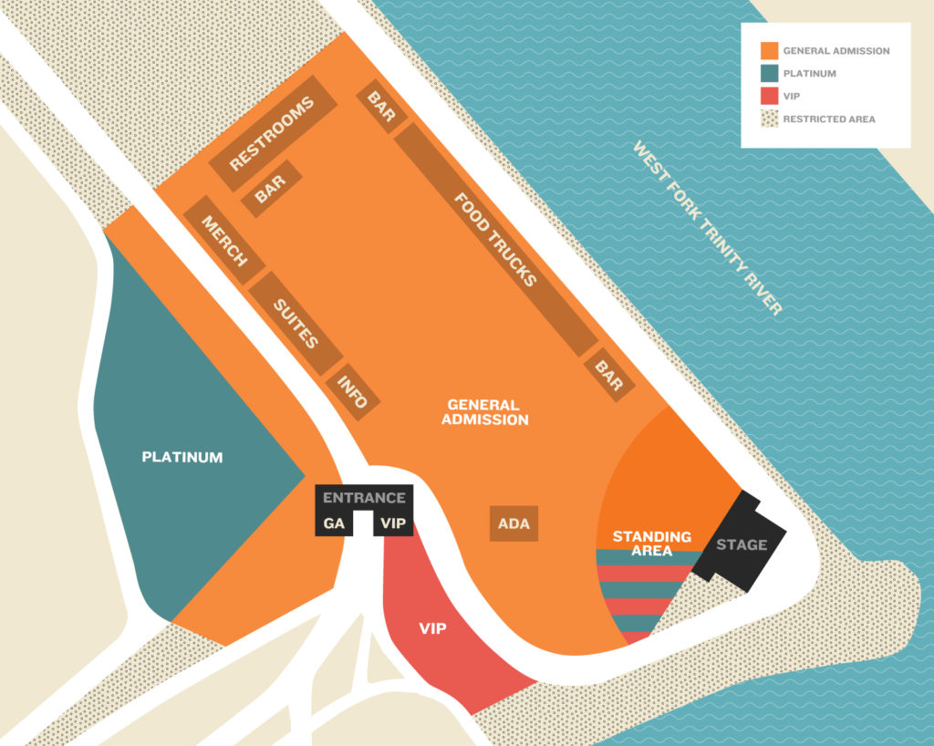 River & Blues Festival Map in Fort Worth at Panther Island